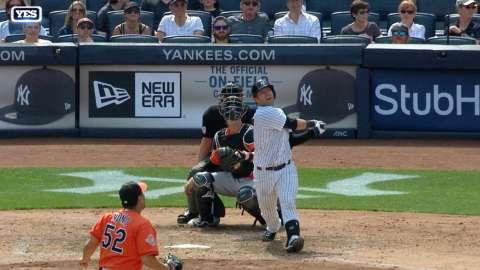 Video: Romine belts one to left field