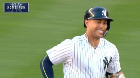 Video: Stanton sends one to deep center